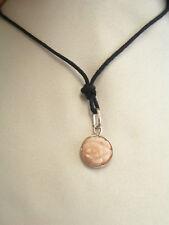 Ciondolo in ARGENTO 925 e FIORE in CORALLO naturale - rosa pendente