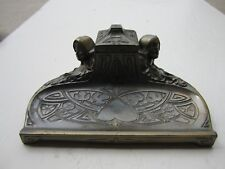 Old Art Noveau Metal Dutch Girls Decorated Desk Inkwell & Pen Holder