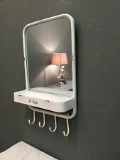Large French Country Style Shabby Chic Metal Bathroom Mirror With Hooks