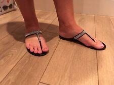 Spring Summer Women's Size 6 Black Diamante Flip Flops Good Condition