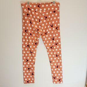 LuLaRoe Disney Women's OS Tall & Curvy peach with dots & Mickey minnie Legging
