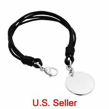 7.6''Black Leather Cord Biker Bracelet w/ Stamping Tag Blank Charm Lobster Clasp