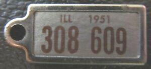 Illinois 1951 MINI License Plate KEYCHAIN TAG DISABLED AMER. VETERAN # 308 609
