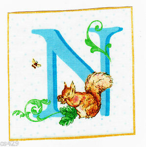 letter Beatrix potter wall safe decal fabric  n nut square 3.5 inch