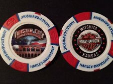 "Harley Golf Ball Marker Poker Chip (Wht/Red/Blu) ""Twister City"" Wichita KS ERROR"