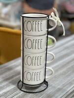 """New RAE DUNN Artisan Collection LL """"COFFEE"""" Stacking Mug Set of 4"""
