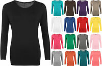 New Plus Size Womens Plain Jersey Long Sleeve Ladies Stretch T-Shirt Top 12-26