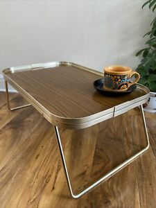 Vintage Retro Wood Effect Folding Lap Picnic Bed Camping Tray Lap/breakfast