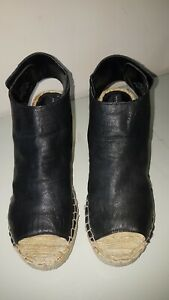 Steve Madden Ladies Leather Sling Back Open Toe Wedge Espadrilles Size 8 UK