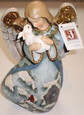 "Roman Joseph's Studio 9"" Angel Holding Bunny Snow Birdhouse Cardinal painted Sce"