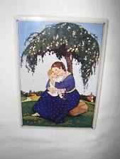 1982 VILBO PORCELAIN TILE CARD MOTHER AND CHILD/WILLOW TREE HESELER VILLERY&BOCH