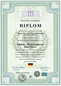 Premium Diplom DinA3, Urkunde, Zeugnis, personalisiert und fälschungssicher