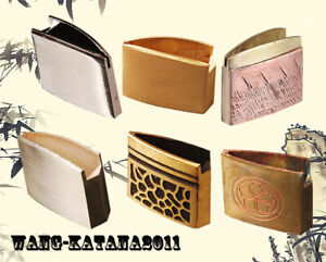 Unique Engraved Brass Habaki Collar for Japanese Samurai Sword Katana Wakizashi