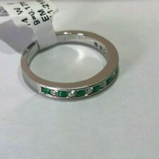 BRAND NEW 14K White Gold Band with 0.17CT TW Emeralds and 0.17CT TW Diamonds