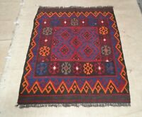 3'9 x 2'11 Small Handwoven Afghan Tribal Kilim Carpet Wool Kelim Area Rug #4734