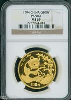 1994 Chinese GOLD PANDA 1 Oz. NGC MS69 MS-69 CHINA 100Y 100-Y Yuan !