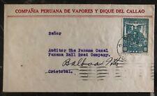 1930 Lima Peru Peruvian Ship Co cover to Balboa Canal Zone Panama