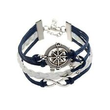 *UK* Ladies leather look love anchor Multilayer vintage infinity bracelet 1073