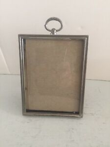 """Vintage Silver Tone Picture Frame - Convex Glass  - 4 3/8"""" x 3 3/8"""" x 1/2""""."""