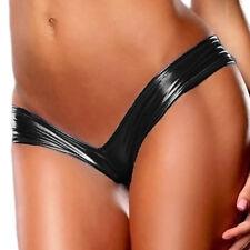 Women Metallic Wet Look Thong Briefs Mini Panties V-string G-string Underwear