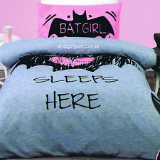 Batman - Batgirl Sleeps Here - Queen Bed Quilt Doona Duvet Cover Set
