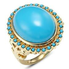 Natural Giant Turquoise 9k 9ct 375 Solid Gold Antique Style Ring