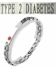 Type 2 Diabetes Medical Alert 316l Stainless Steel Link Unisex Bracelet 8