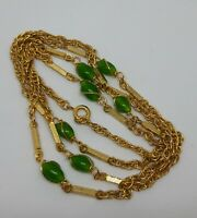 Vintage Green Stone Gold Tone Necklace