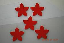 5 St. Blume rot Samt Flock Applikation zum aufbügeln Flicken Aufnäher Patch