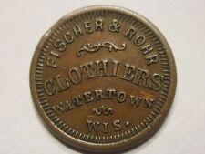 """Watertown, WI Fischer & Rohr """"clothes"""" Civil War Store Card Token WI920F-1a R4"""