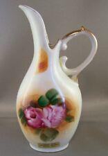 "Decorative Ceramic VASE PITCHER PINK ROSES Gold Trim 7"" Tall Pioneer Village"