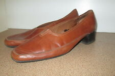 Ladies Wide Step Sizer 9.5 Leather Slip On Shoes Shoe Brown