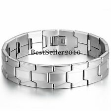 """16mm Wide Stainless Steel Men's Chain Link Bracelet Cuff Bangle Wristband 8.1"""""""