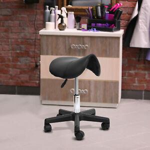 HOMCOM Saddle Massage Stool Beauty Salon Manicure Tattoo Swivel Chair