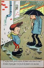 Child Smoking Cigarette in Rain 1920s French Artist-Signed Postcard