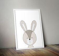 Kunstdruck Poster Tiere Bild Deko Kinderzimmer + Hase +