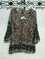 Angie Women's Open Front  Top Size S  3/4 Sleeve Multicolored Floral