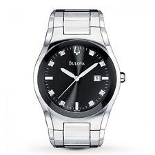 Bulova Men's 96D104 Diamond Accents Quartz Black Dial Silver Tone Bracelet Watch