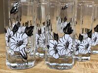 RARE Octagon Cordial Liqueur Juice Glasses Black White Trumpet Flower 9 pc Set