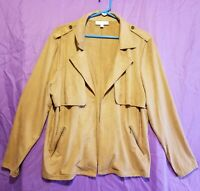 Women's New Direction Suede Full Zip Long Sleeve Jacket - Size XL - Beige Tan