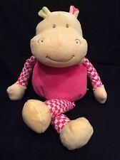Woody Toys Hippo W/Pink Body & Pink/White Checkered Legs/Arms Plush