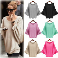 Women's Batwing Sleeve Pullover Knitted Loose Sweater Jumper Blouse Coat Outwear
