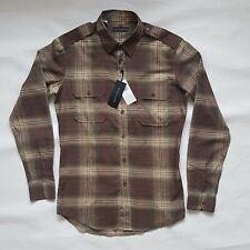 Ralph Lauren Black Lable Men's Military  Brown Plaid Shirt Made in Italy Medium