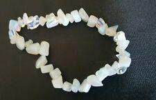White opalite crystal gemstone chip stretchy bracelet