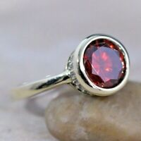 Ruby Silver Ring 925 Sterling Silver Handmade Round Turkish Ladies Ring 6-12