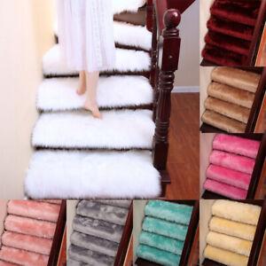 1--10PCS Faux Fur Stair Tread Carpet Mats Step Non Slip Mat Protection Cover Pad