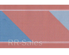 Pastel Pink Blue Country American Little Dots Bathroom Vtg Wallpaper Wall Border