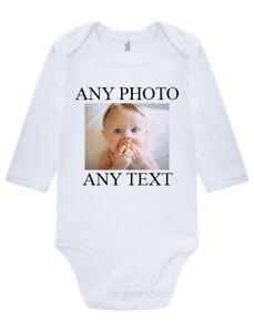 Personalised Photo Baby Grow Vest Bodysuit Girl Or Boy Perfect Gift Custom
