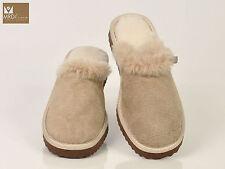Women's beige brown bordeaux suede sheepskin wool fur mule slippers
