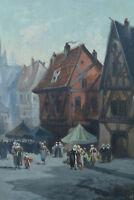 Beau tableau Normand Vue de Rouen Marché Animé étals Costume signé Rosier 19e
